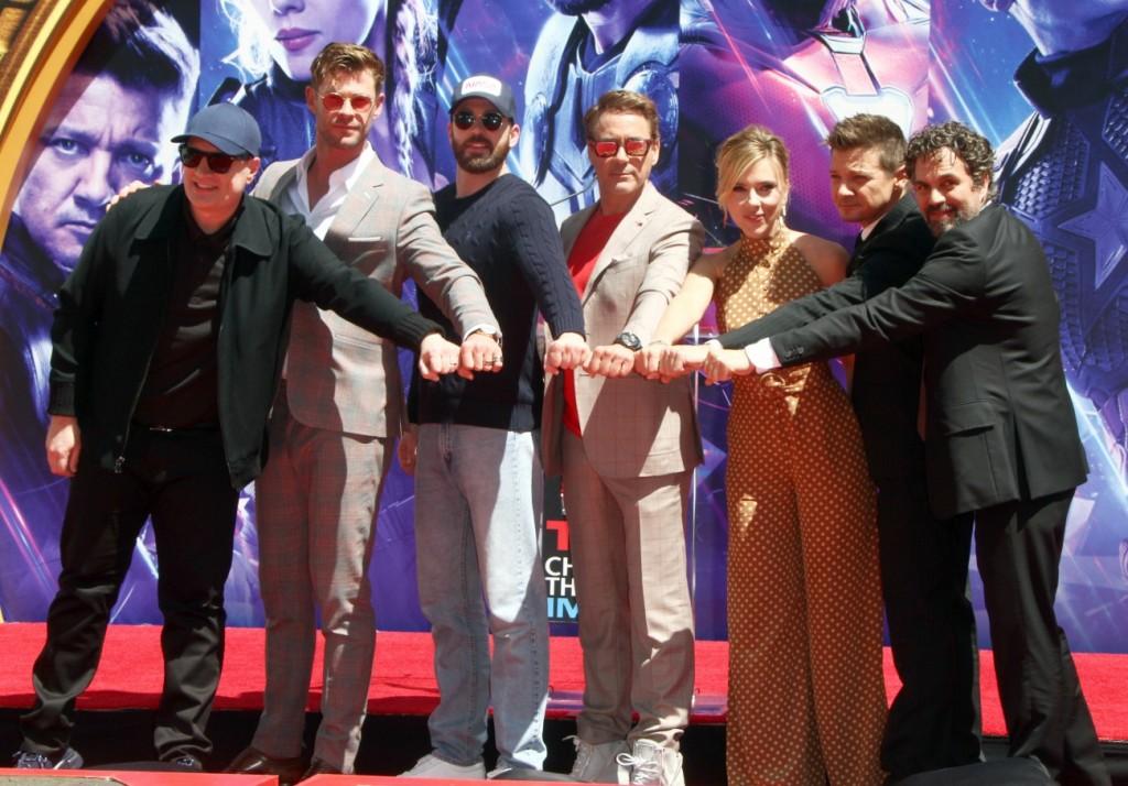 "Kevin Feige, Chris Hemsworth, Chris Evans, Robert Downey Jr., Scarlett Johansson, Jeremy Renner, Mark Ruffalo attends The Marvel Studios' ""Avengers: Endgame"" Cast Place Their Hand Prints In Cement in Los Angeles"