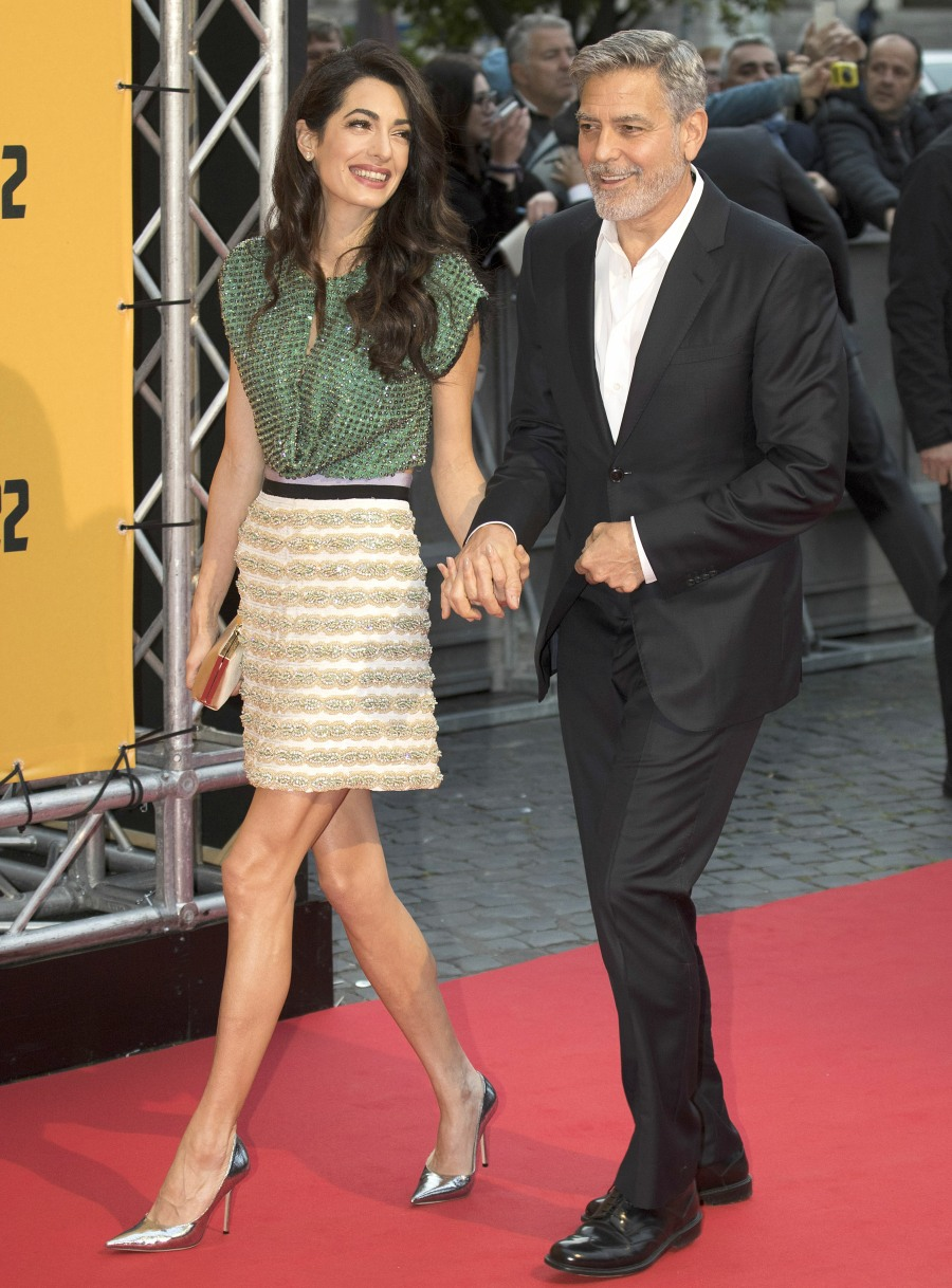 George Clooney and Amal Clooney attend the premiere of 'Catch-22'