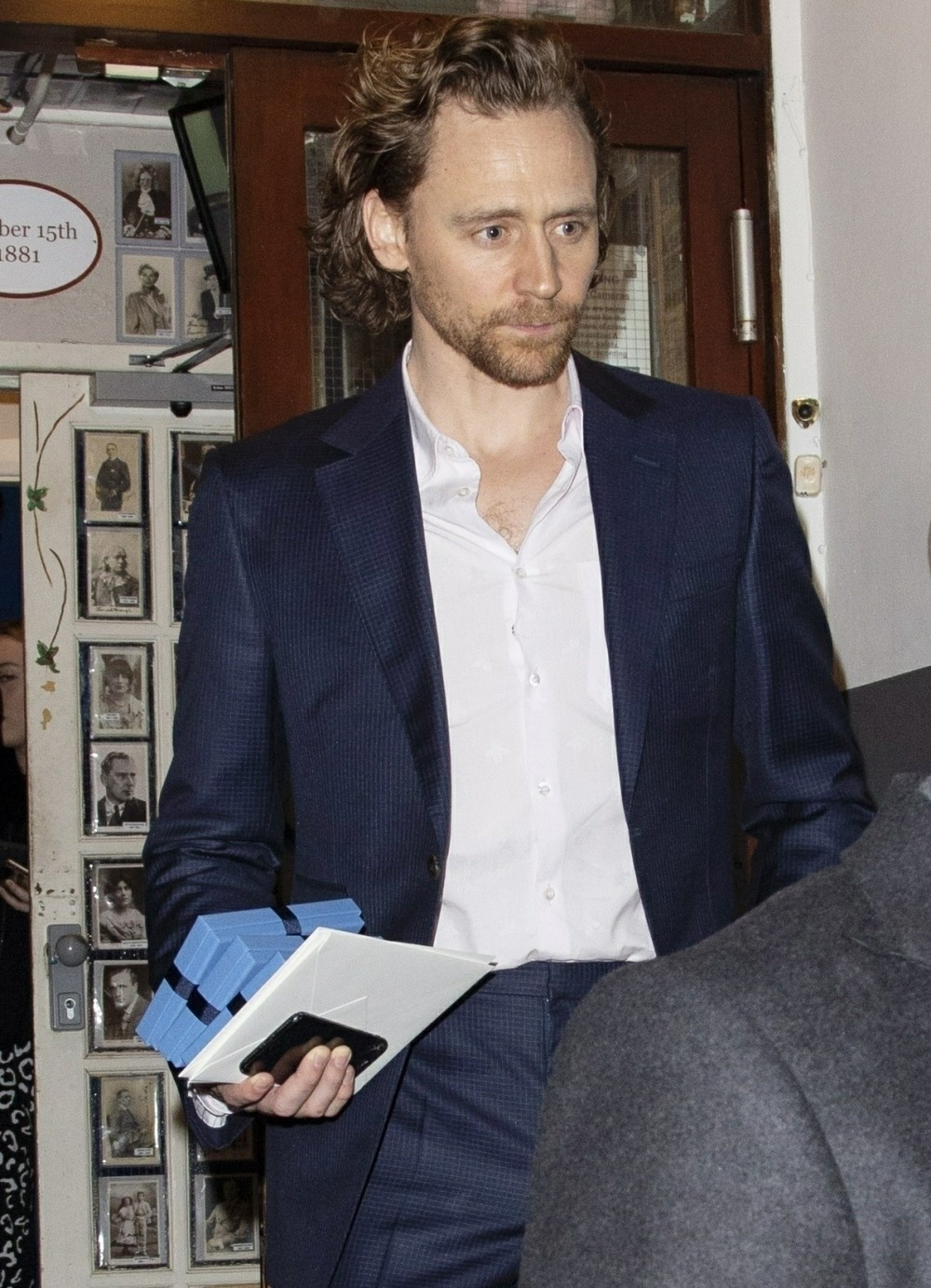 Tom Hiddleston and Charlie Cox leaving the Harold Pinter Theatre