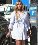 Tennis star Serena Williams shows off a very short slitted dress