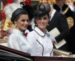Spain's Queen Letizia and Britain's Kate, the Duchess of Cambridge leave the Order of The Garter Service at Windsor Castle in Windsor, Monday, June 17, 2019. Windsor Castle plays host to the annual Order of the Garter Service, held in St. George's Chapel,