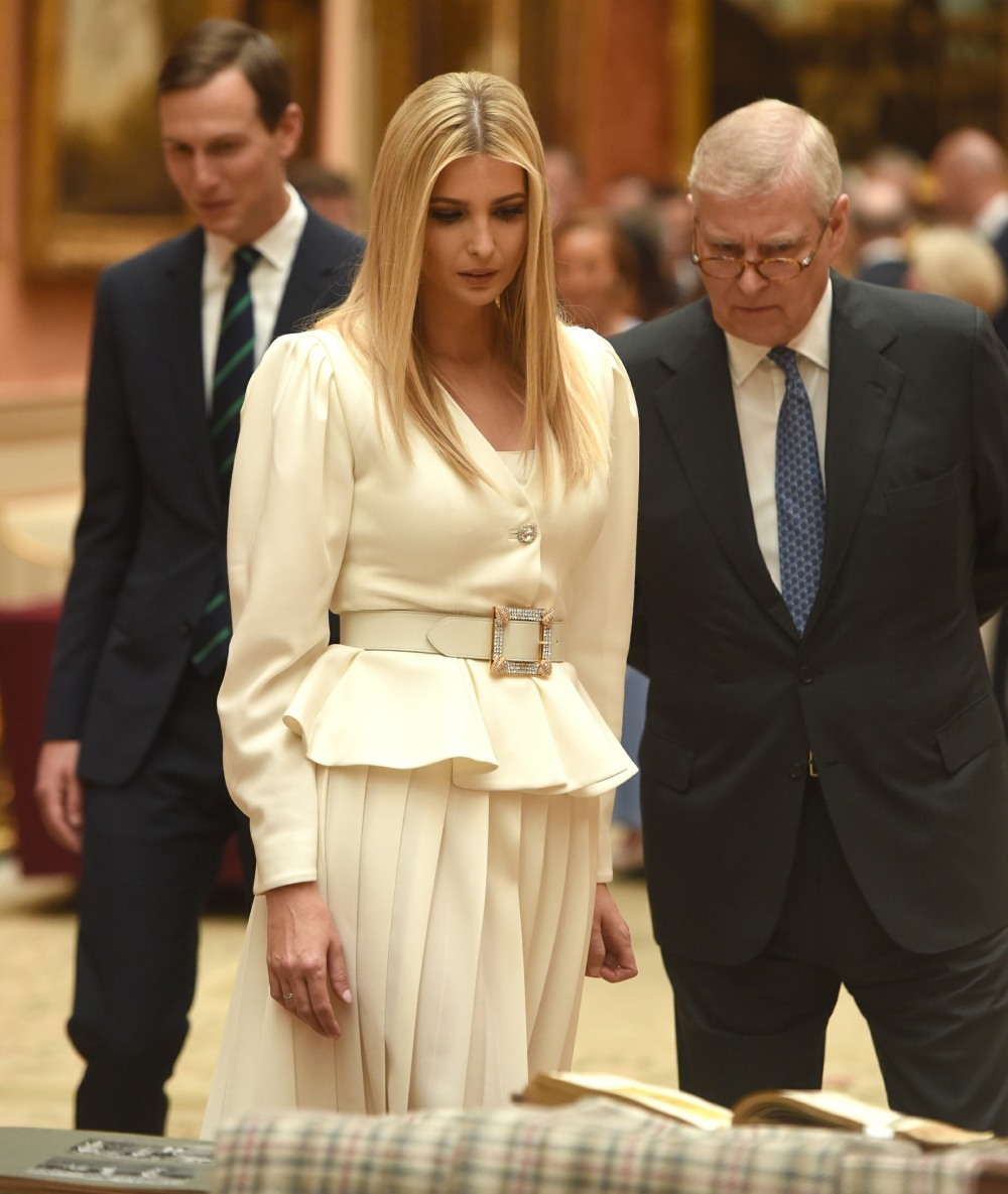 Ivanka Trump and Prince Andrew view displays of US items from the Royal Collection at Buckingham Palace in London.