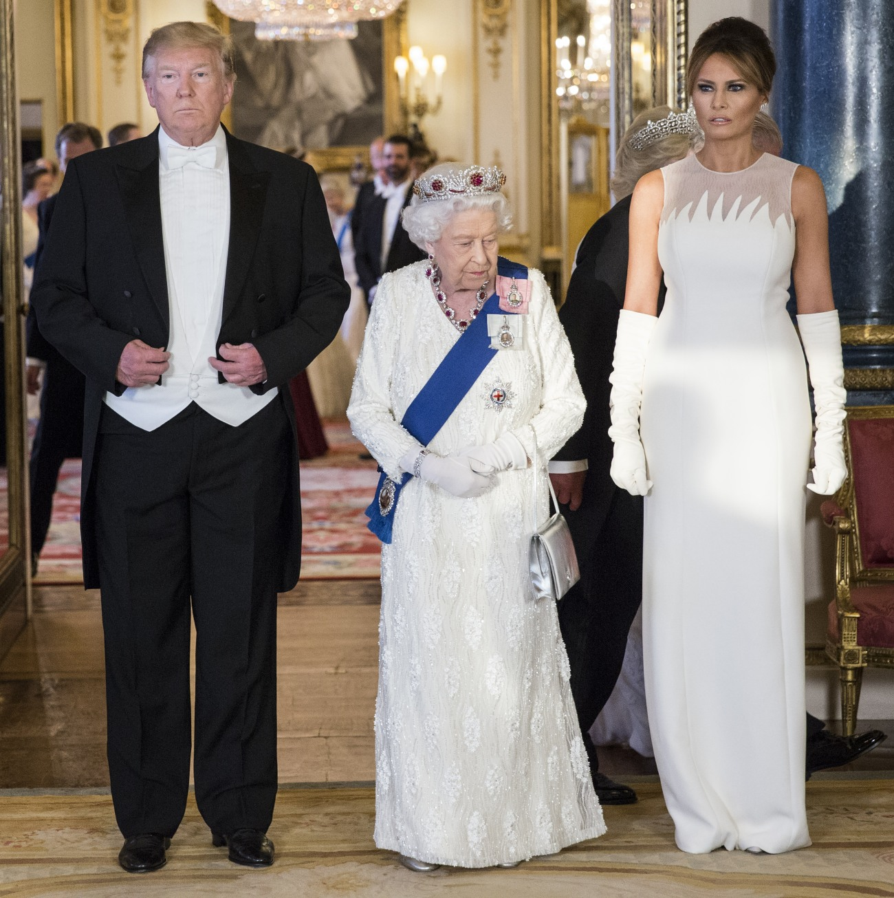ROYAL ROTA Her Majesty The Queen and President of The United States of America at State Banquet, Buckingham Palace, London, England, UK