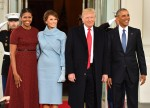 Barak Obama and Donald Trump arrive for the inauguration of President-elect Donald Trump