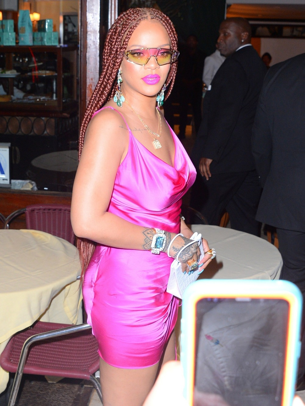 Rihanna Shows Off Her Fabulous Curves In Pink Mini Dress & Rocks Box Braids At Fenty Pop-Up Party
