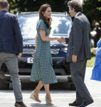 The duchess of Cambridge visits her Back to Nature Garden at Hampton Court Palace Garden Festival that she co designed with Andrée Davies and Adam White .Hampton 1 July 2019