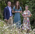 The Duchess of Cambridge with co designers Andrée Davies and Adam White .The duchess of Cambridge visits her Back to Nature Garden at Hampton Court Palace Garden Festival that she co designed with Andrée Davies and Adam White .Hampton 1 July 2019