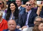 Lauren Sanchez e Jeff Bezos guardano la finale del singolare maschile di Wimbledon su Center Court.London, Regno Unito - domenica 14 luglio 2019.