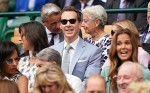 Benedict Cumberbatch and Sophie Hunter watch the Wimbledon Men's Singles Final on Centre Court.London, United Kingdom - Sunday July 14th, 2019.
