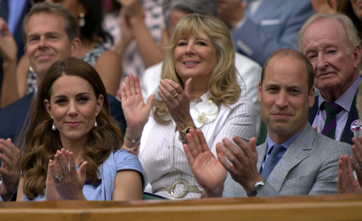 Catherine, Duchess of Cambridge, and Prince William, Duke of Cambridge, watch the Wimbledon Men's Singles Final on Centre Court. London, United Kingdom - Sunday July 14th, 2019.
