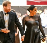 """The Duke and Duchess of Sussex arrive on the yellow carpet at the European premiere of Disneys """"The Lion King"""" on Sunday 14 July 2019"""