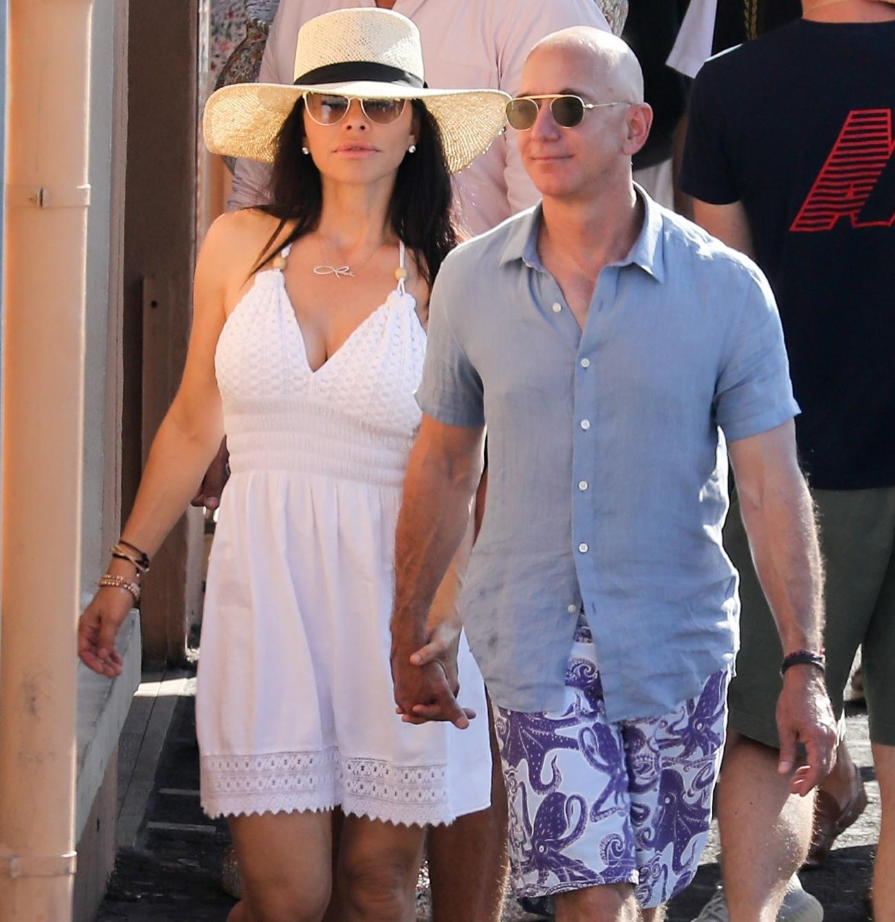 Jeff Bezos and Lauren Sanchez stroll in St. Tropez