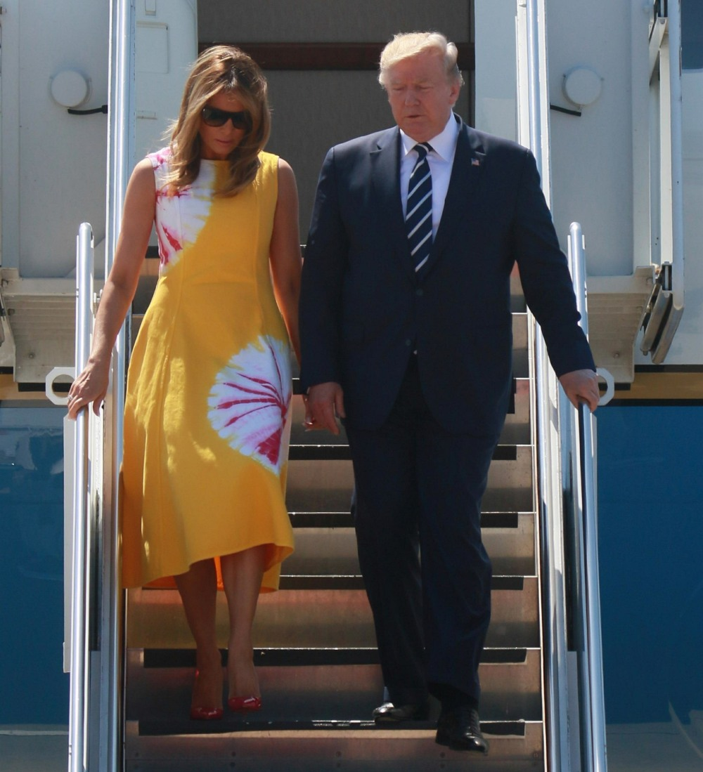 Donald Trump and Melania Trump arrive at Biarritz airport to attend the G7 summit