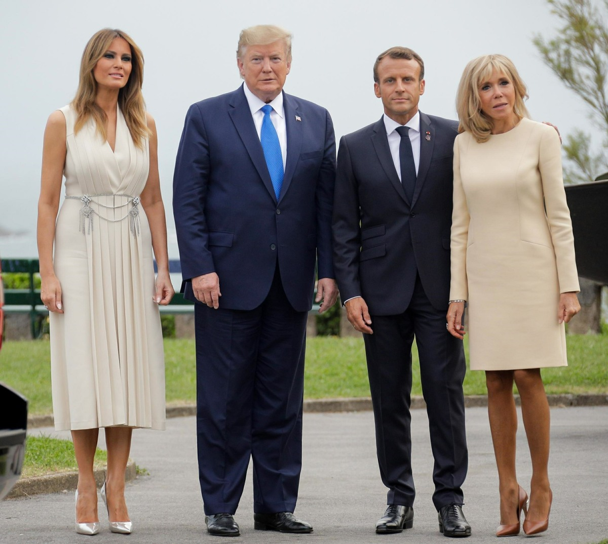 French President Emmanuel Macron and his wife, First Lady Brigitte Macron at the reception for the G7 summit in Biarritz