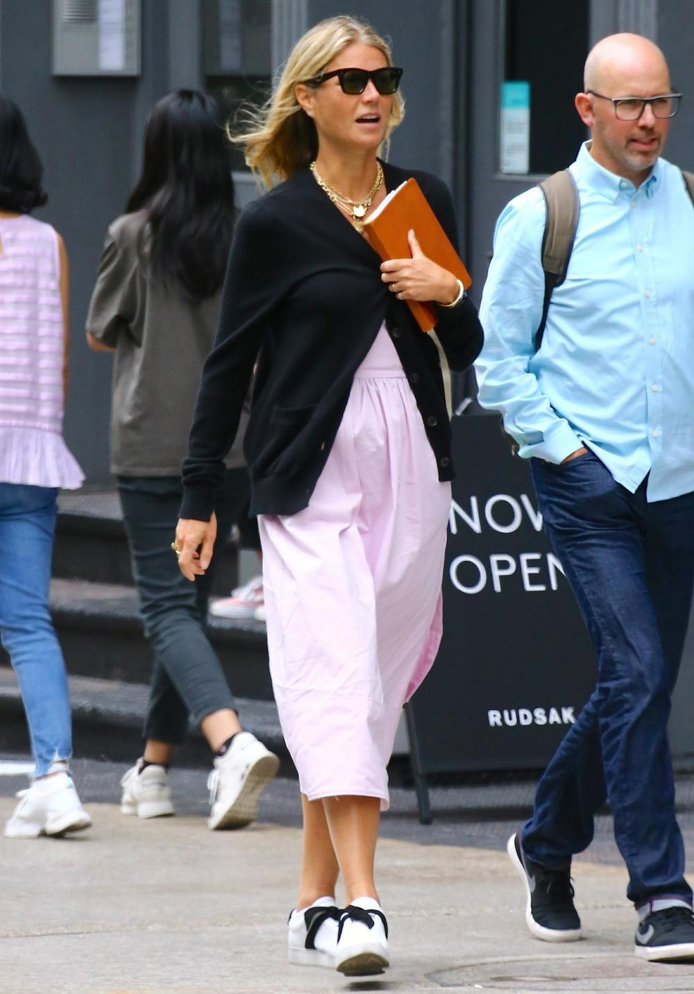 Gwyneth Paltrow walks with a friend on Prince Street in Soho, New York