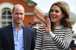 Britain's Prince William, Duke of Cambridge (L) and Britain's Catherine, Duchess of Cambridge wave to wellwishers as they leave after attending the launch of the King's Cup Regatta, at the Cutty Sark in Greenwich, south east London on May 7, 2019. - The event is set to take place on August 9, 2019, on the Isle of Wight, and is set to see The Duke and Duchess go head to head as skippers of individual sailing boats, in an eight boat regatta race. Each boat taking part will represent one of eight charities and the winning team will be awarded the historic trophy The King's Cup.