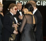 Britain's Prince Harry, Duke of Sussex (R) and Britain's Meghan, Duchess of Sussex (2nd R) chat with British singer-songwriter Elton John (C) as they arrive to attend the European premiere of the film The Lion King in London on July 14, 2019.