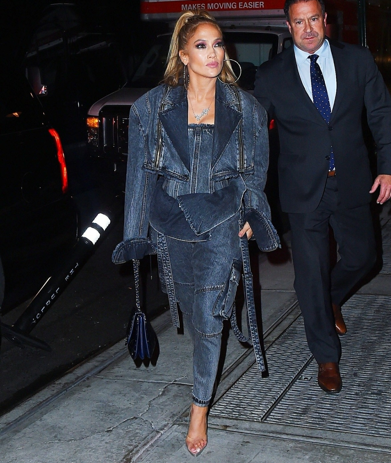 Jennifer Lopez heads to dinner rocking denim from head to toe!