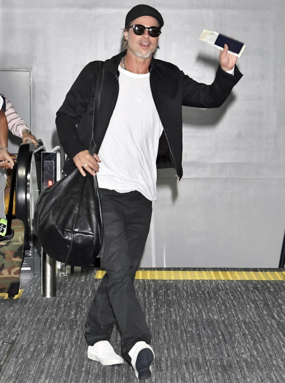 Brad Pitt on arrival at Tokyo Narita Airport.