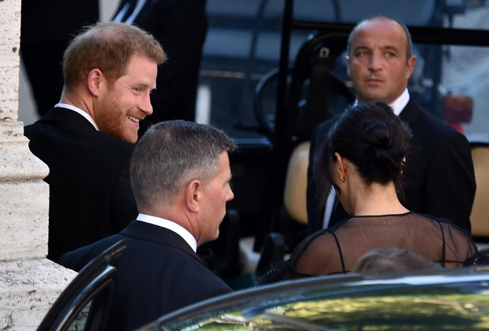 Meghan Markle and Prince Harry arrive at Misha Nonoo's wedding in Rome
