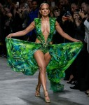 Jennifer Lopez Closes Versace's Fashion Week Show in Iconic Green Gown