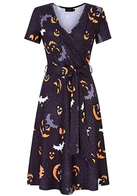 Halloween print wrap dress