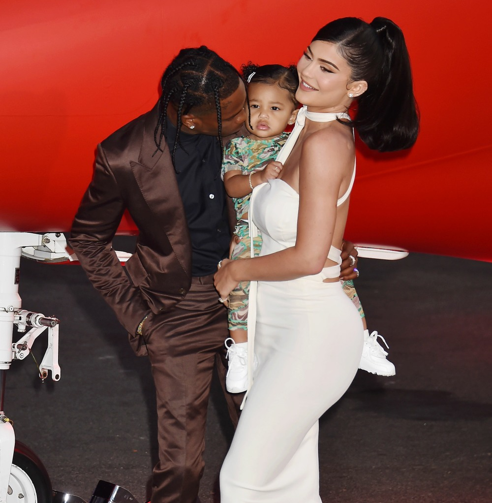 """Travis Scott, Stormi Webster, Kylie Jenner at the Travis Scott: """"Look Mom I Can Fly"""" Los Angeles Premiere at The Barker Hangar"""