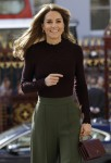 Britain's Kate, The Duchess of Cambridge arrives at The Natural History Museum in London, Wednesday, Oct. 9, 2019. The Duchess of Cambridge, Patron of the Museum, visited the Natural History Museum's Angela Marmont Centre for UK Biodiversity to hear how it