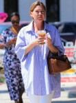 Actress Ellen Pompeo grabs coffee while rocking oversized shirt during outing at Alfred's