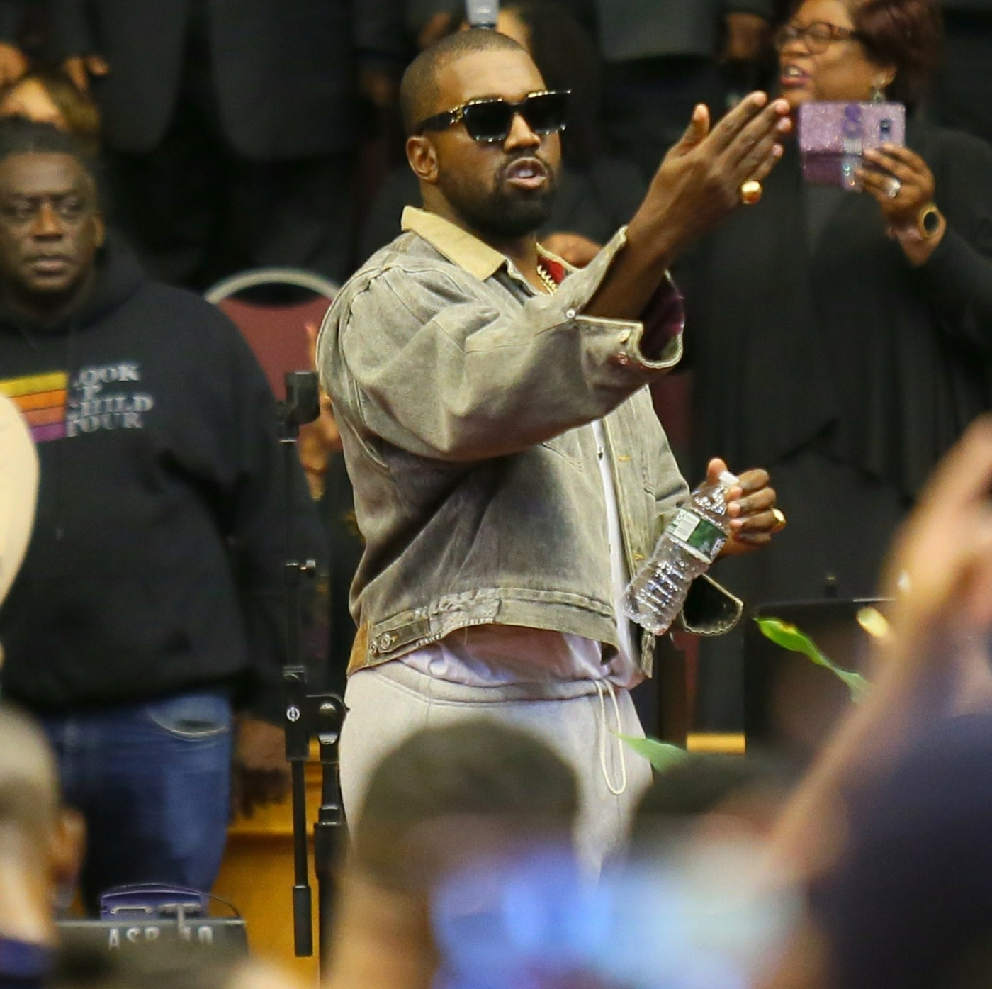 Kanye West and his family attend the Greater Allen AME Cathedral of New York for his Sunday service