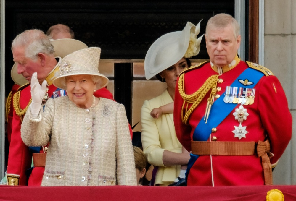 Her Majesty Queen Elizabeth II leads the royal family out on the balcony to view the flypast by the RAF at Trooping the Colour on Saturday 8 June 2019