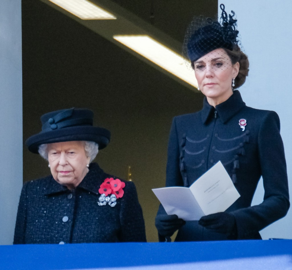 Her Majesty The Queen, HRH The Duchess of Cornwall and HRH The Duchess of Cambridge attends the National Service of Remembrance at the Cenotaph on Sunday 10 November 2019