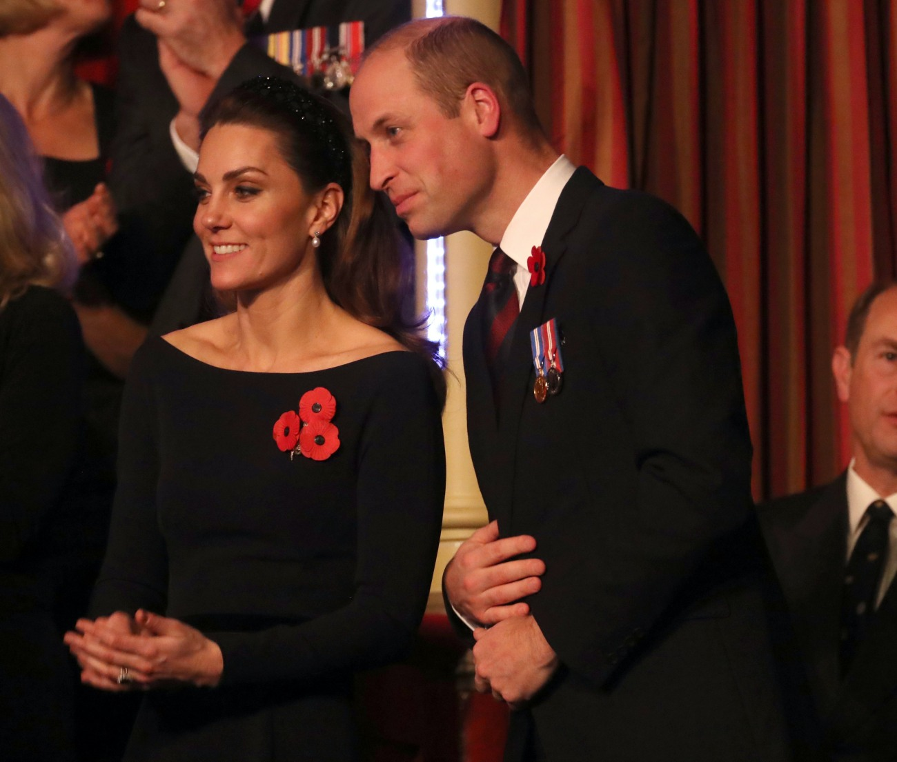 (L-R) Catherine, Duchess of Cambridge, Prince William, Duke of Cambridge and Prince Edward, Earl of Wessex attend the annual Royal British Legion Festival of Remembrance at the Royal Albert Hall on November 09, 2019 in London, England.
