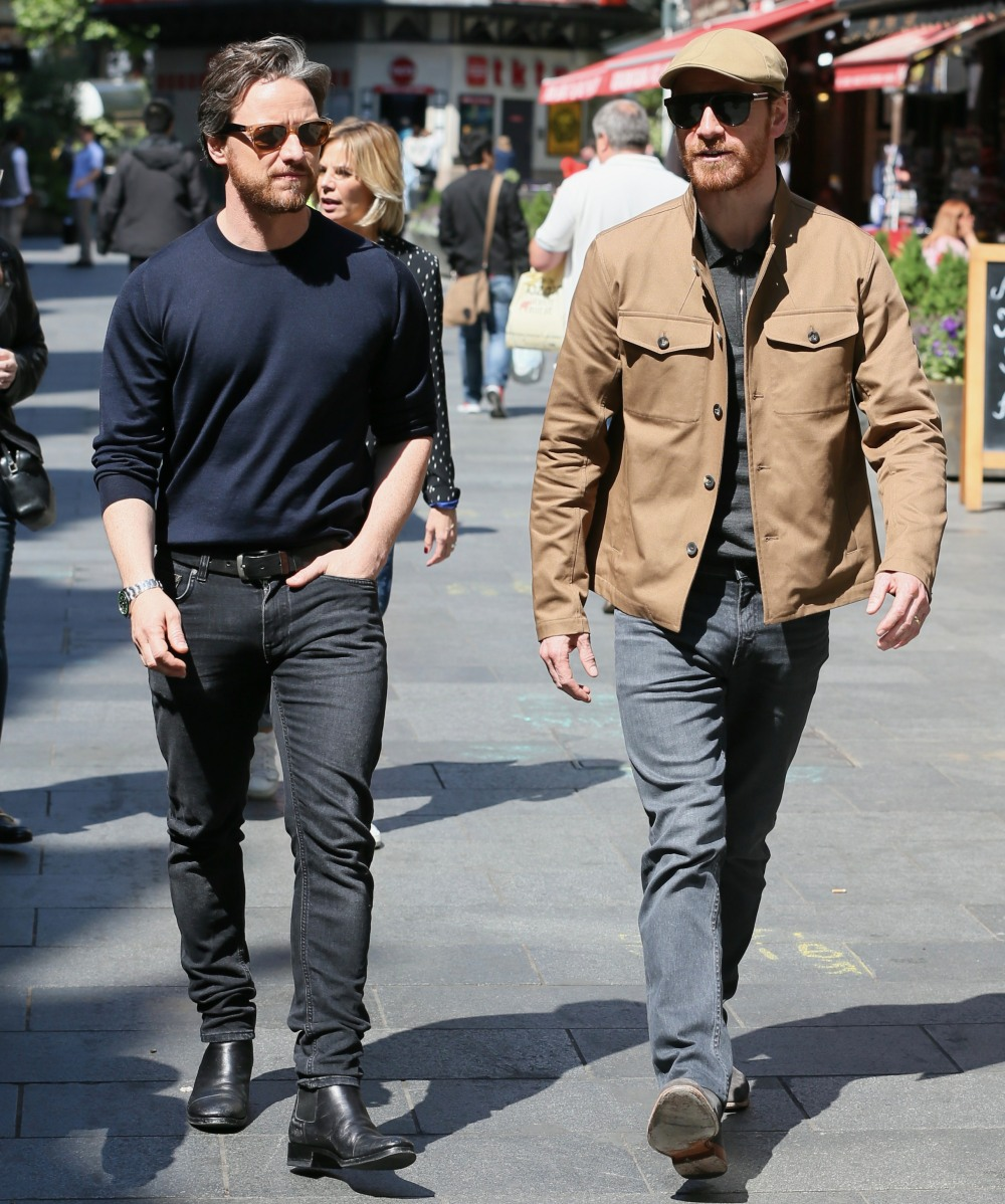 Michael Fassender and James McAvoy seen leaving the Global studios