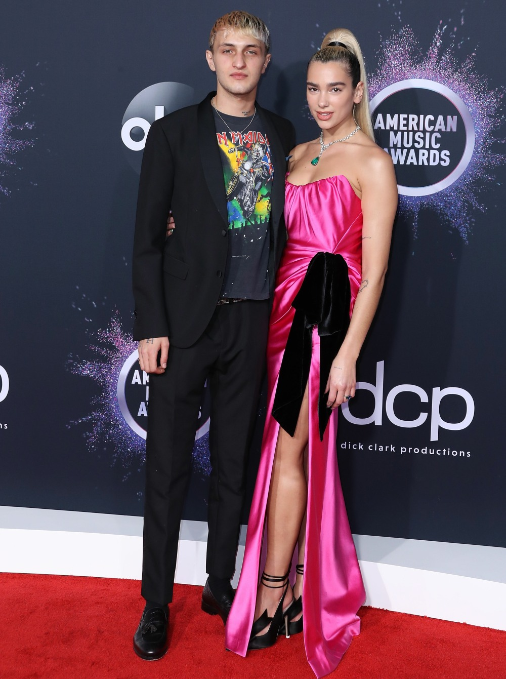 Anwar Hadid and singer Dua Lipa arrive at the 2019 American Music Awards held at Microsoft Theatre L.A. Live on November 24, 2019 in Los Angeles, California, United States.
