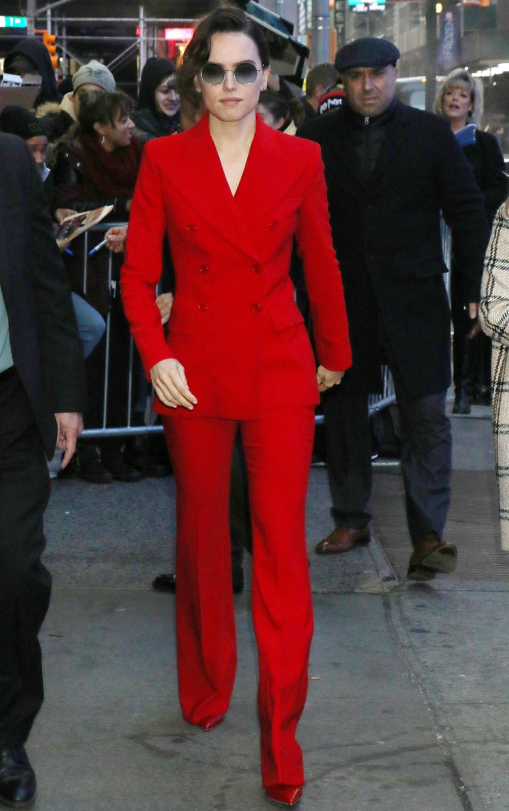 Daisy Ridley arrives at Good Morning America as she greets fans