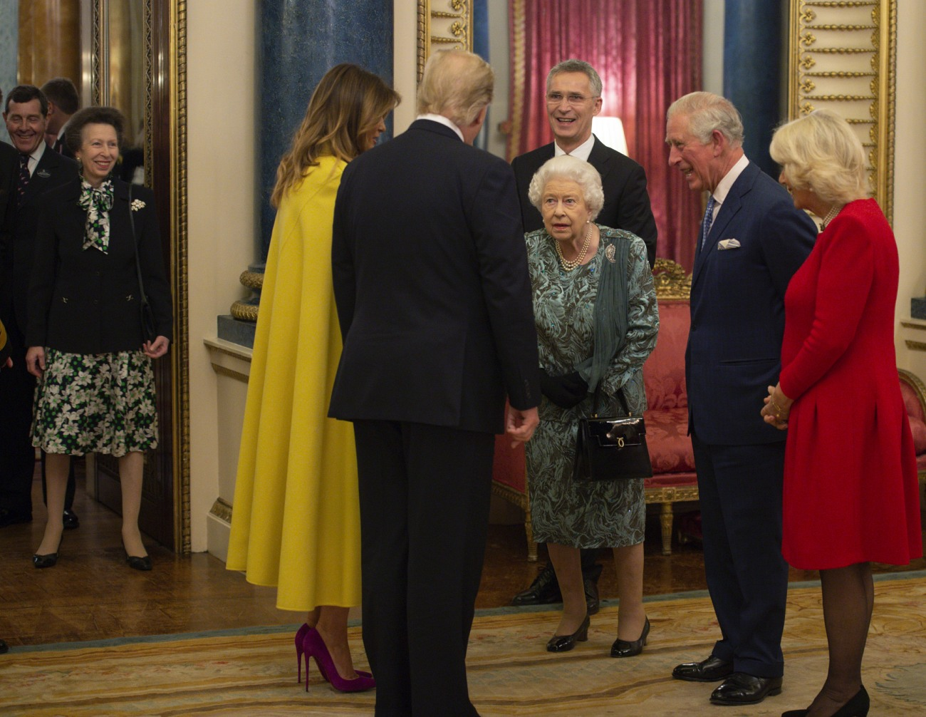 THE QUEEN HOSTING A RECEPTION FOR NATO LEADERS AT BUCKINGHAM PALACE