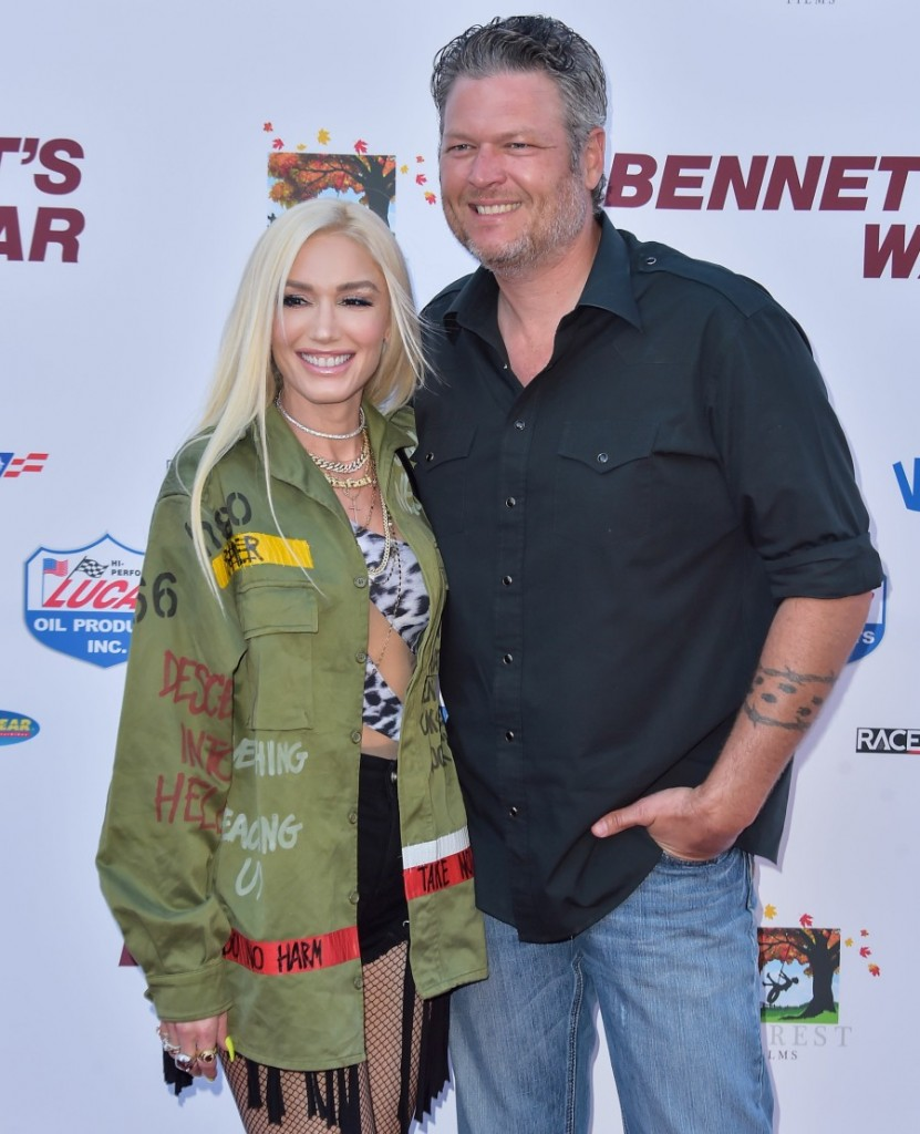 Singer Gwen Stefani and boyfriend/singer Blake Shelton arrive at the Los Angeles Premiere Of Forrest Films' 'Bennett's War' held at the Steven J. Ross Theater at Warner Bros. Studios on August 13, 2019 in Burbank, Los Angeles, California, United States. (P