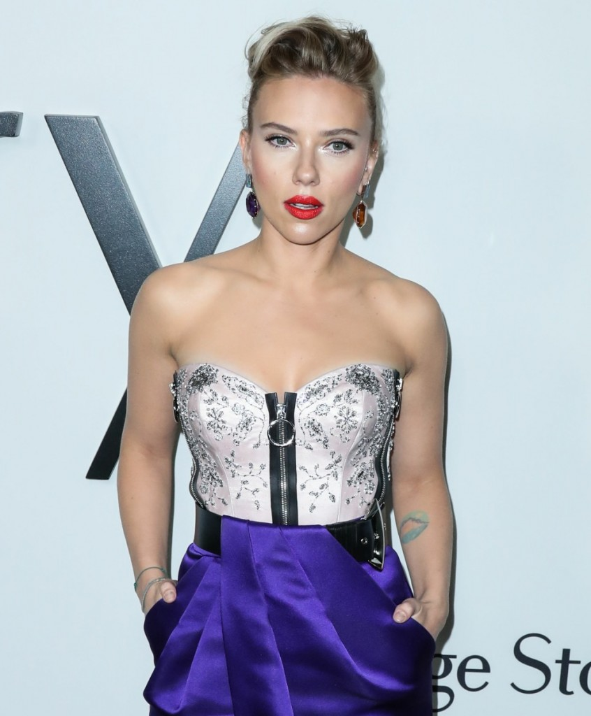 Actress Scarlett Johansson wearing Louis Vuitton with Taffin jewelry arrives at the Los Angeles Premiere Of Netflix's 'Marriage Story' held at the Directors Guild of America Theater on November 5, 2019 in West Hollywood, Los Angeles, California, United Sta