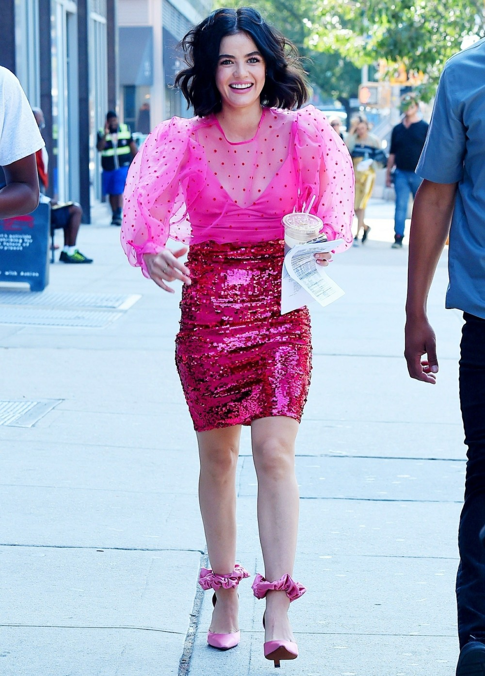 Hot pink Lucy Hale films at the Bowery Electric