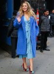 Actress Blake Lively looks lovely leaving Good Morning America in a blue faux fur coat