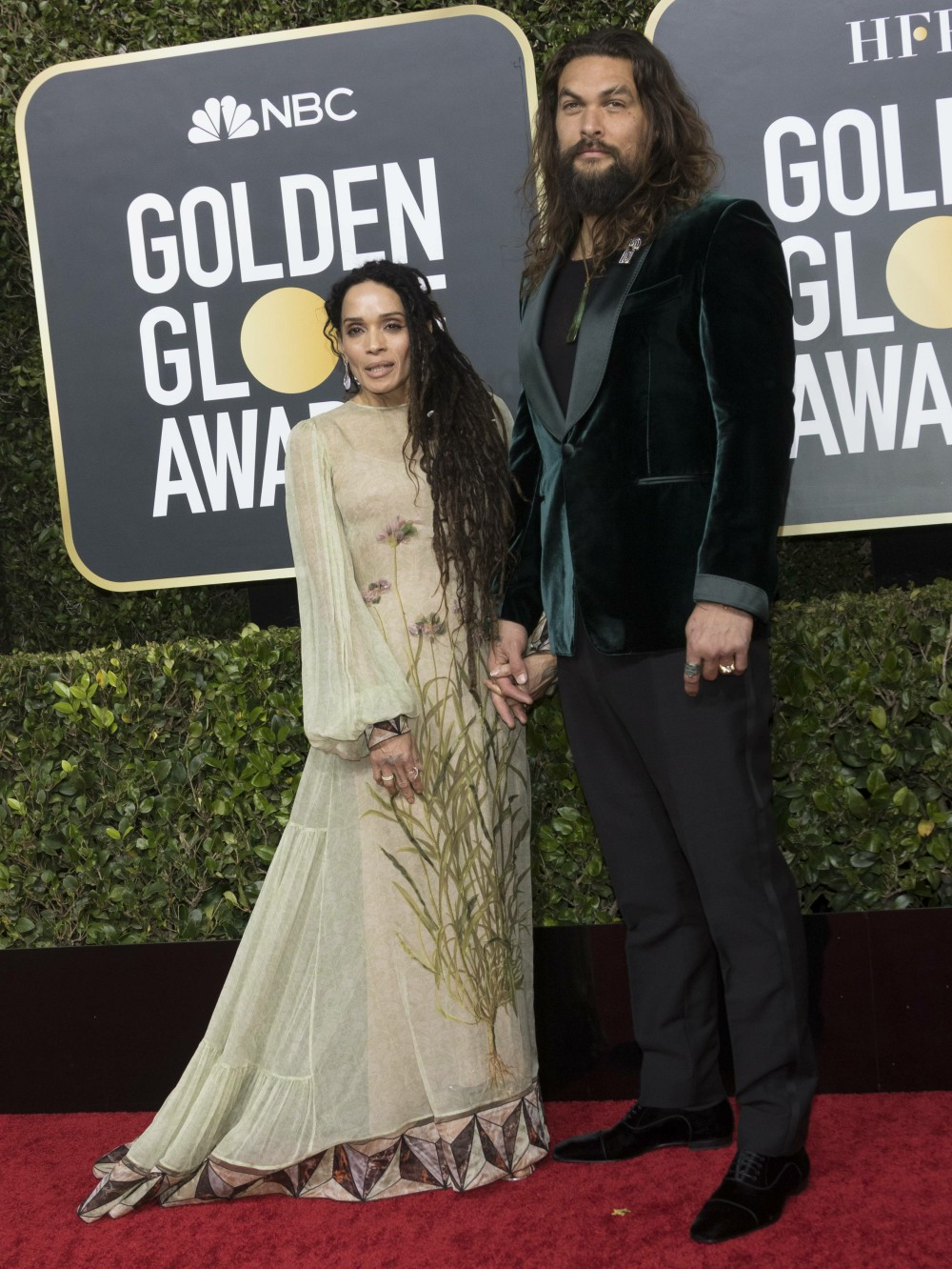 Lisa Bonet and Jason Momoa attend the 77th Annual Golden Globe Awards, Golden Globes, at Hotel Beverly Hilton in Beverly Hills, Los Angeles, USA, on 05 January 2020. | usage worldwide