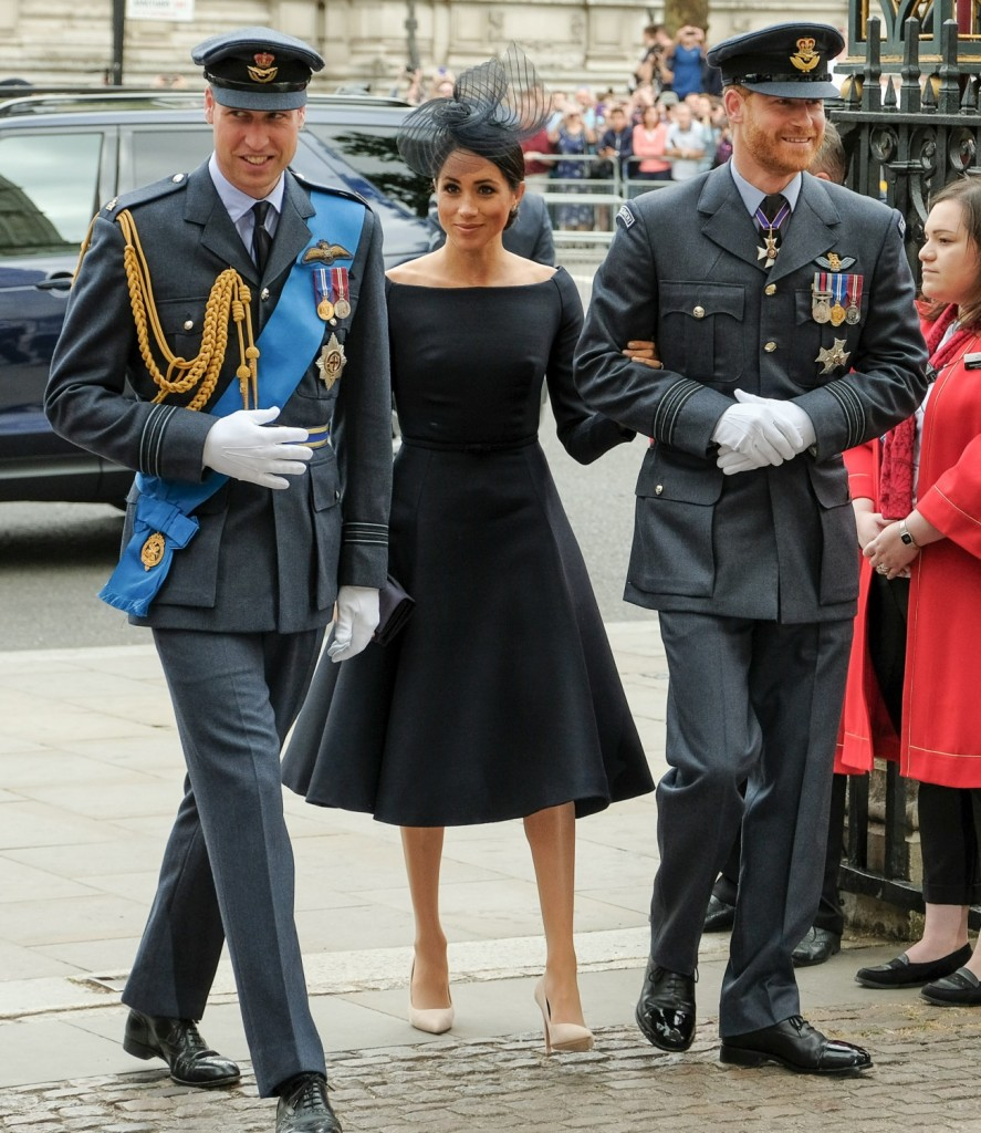 Kate, Duchess of Cambridge, Prince William, Duke of Cambridge, Prince Harry, The Duke of Sussex and  Meghan, Duchess of Sussex at service to mark the centenary of the Royal Air Force on 10/07/2018