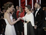 Kate, Duchess of Cambridge meets Olivia Colman after the BAFTA 2019 Awards at The Royal Albert Hall in London, Sunday Feb. 10, 2019