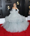 Singer Ariana Grande wearing a custom Giambattista Valli dress with Christian Louboutin shoes arrives at the 62nd Annual GRAMMY Awards held at Staples Center on January 26, 2020 in Los Angeles, California, United States.