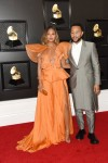 Chrissy Teigen, John Legend arrives at the 62nd Annual GRAMMY Awards at Staples Center on January 26, 2020 in Los Angeles, California
