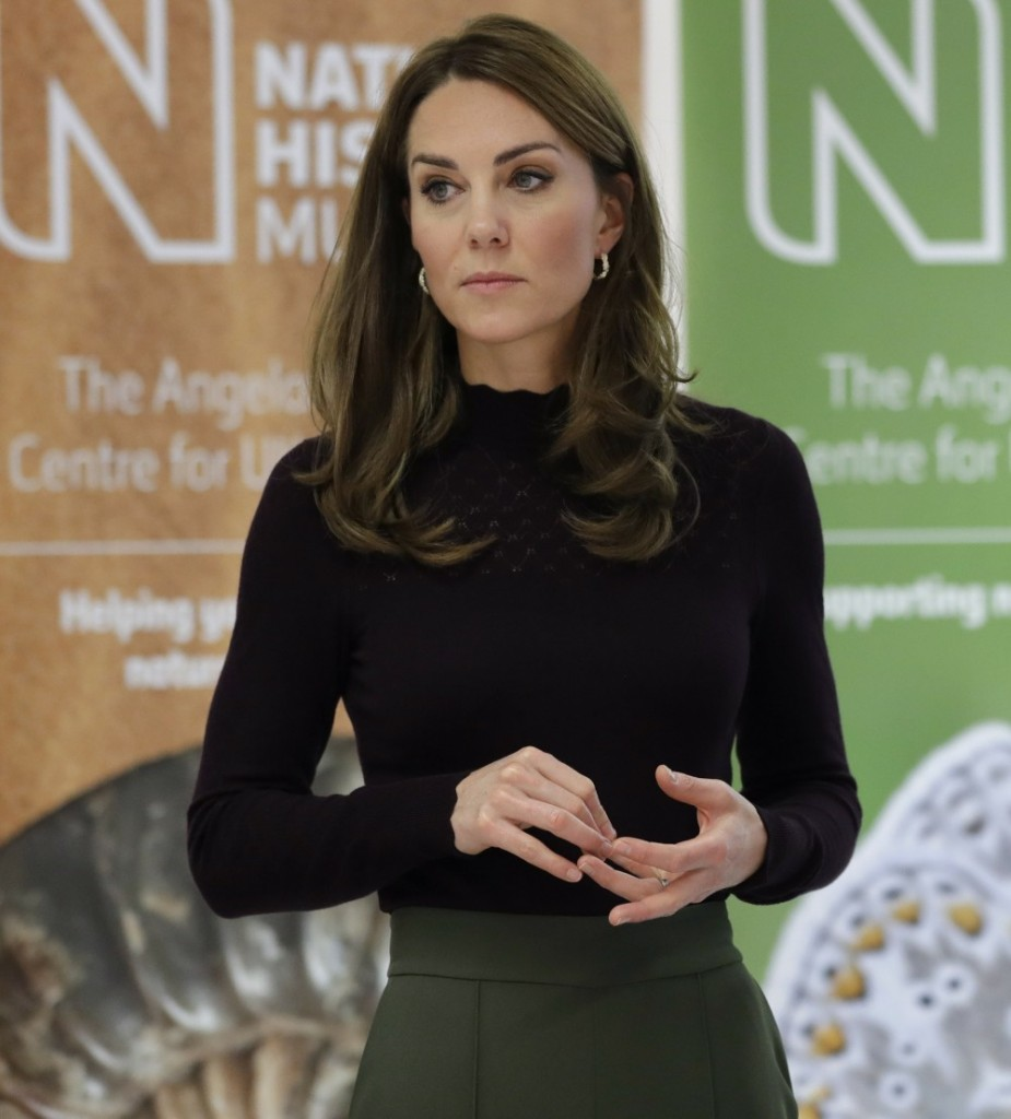 Britain's Kate, The Duchess of Cambridge listens during a visit to The Natural History Museum in London, Wednesday, Oct. 9, 2019. The Duchess of Cambridge, Patron of the Museum, visited the Natural History Museum's Angela Marmont Centre for UK Biodiversity