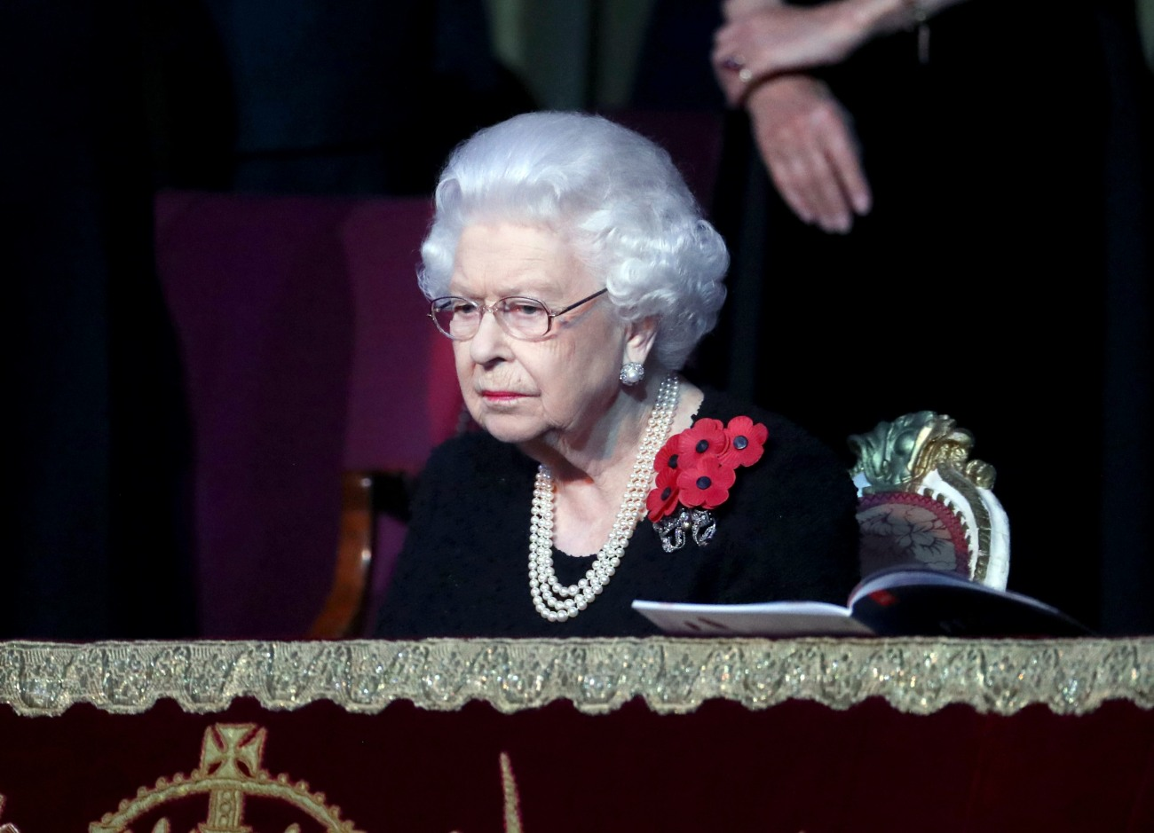 Queen Elizabeth II attends the annual Royal British Legion Festival of Remembrance at the Royal Albert Hall on November 09, 2019 in London, England.