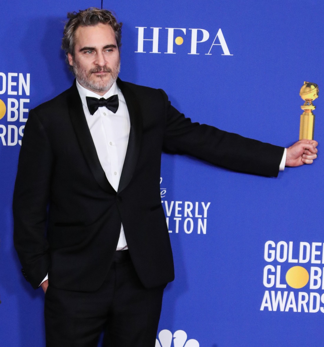 Joaquin Phoenix poses in the press room at the 77th Annual Golden Globe Awards held at The Beverly Hilton Hotel on January 5, 2020 in Beverly Hills, Los Angeles, California, United States.