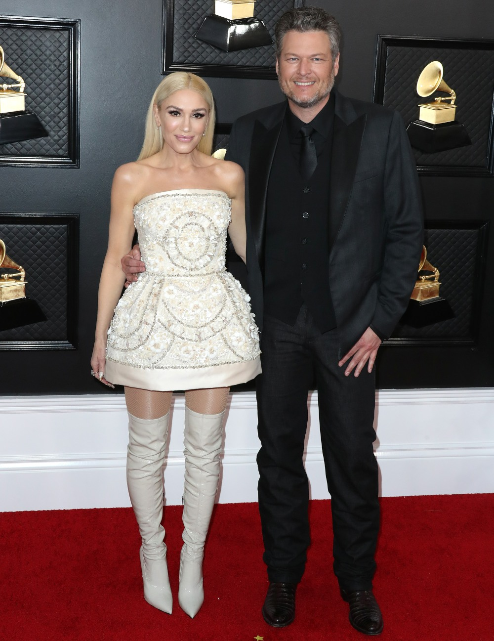 Gwen Stefani and Blake Shelton arrive at the 62nd Annual GRAMMY Awards held at Staples Center on January 26, 2020 in Los Angeles, California, United States.
